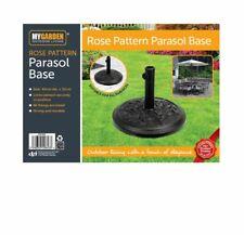 More details for floral parasol base cast iron heavy duty umbrella patio sunshade holder garden