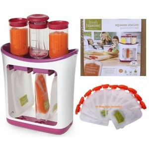 Infantino Squeeze Station Fresh Organic Baby Food Puree Maker 10 Feeding Pouches