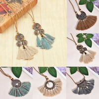 Vintage Bohemian Spiral Tassel Pendant Long Sweater Chain Necklace Boho Jewelry