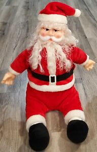 "Vintage Santa Talking Musical Plush Merry Christmas Joy To The World 36"" Decor"