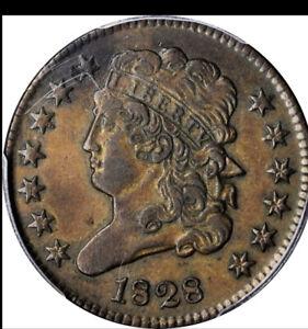 1828 Classic Head Half Cent PCGS AU50*13 Stars*