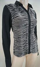 Anne Fontaine Black & White Ruffle Detail Kragen Langarm Bluse Shirt Top