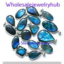 Mix Flashy Labradorite 10 Pcs Wholesale Lots 925 Sterling Silver Plated Pendant