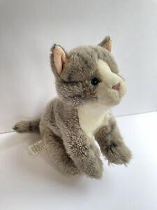"Toys R Us Gray Tabby CAT Kitten 9"" Sitting Plush Stripes 2017 Stuffed Animal All"