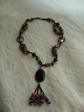 Necklace With Pendant, Usa Enticing Artisan Made Multi-Colored Beaded