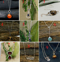 Natural Gemstone Necklace Solid 925 Sterling Silver Handmade Jewelry MN3577