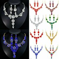 Elegant Wedding Bridal Prom Crystal Rhinestone Earrings Necklace Jewelry Set New