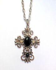 Cross pendant necklace. Christian. Goth. Renaissance. Silver, black colour.