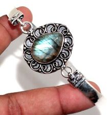 Plated Adjustable Bangle Gw Fiery Labradorite 925 Sterling Silver