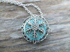 Frozen Snowflake Silver Pendant Necklace 22 inch chain Glow in the dark