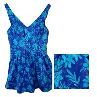 Maxine of Hollywood Blue Floral V Neck One Piece Swimsuit w/ Skirt- Size 12