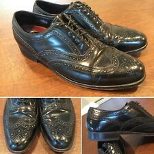 Vintage FLORSHEIM Men's Size 11 Black Leather Brogue Wingtip Oxfords Dress Shoes