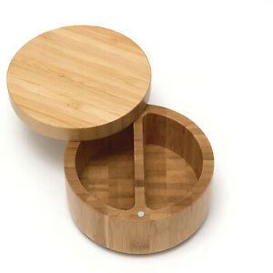 Lipper International Inc. Divided Wooden Bamboo Storage Spice Box w/Swivel Cover