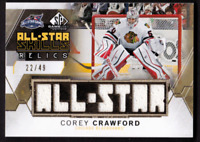 2015-16 SP Game Used All-Star Relics Gold COREY CRAWFORD Jersey #/49 BLACKHAWKS