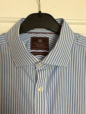 """Men's M&S Collection Blue & White Luxury Double Cuff Formal Shirt 17.5"""" Collar"""