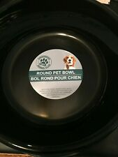 "Dog Food Bowl Water Dish Round Graphics Bone Large 8"" Plastic Black  48 Oz."
