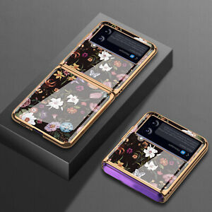 Electroplated Glass Phone Case Floral Pattern for Samsung Galaxy Z Flip 3 Phone