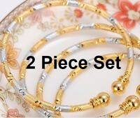 2 Piece Set 18k Yellow Gold And Silver Womens Adjustable Bracelets Bangles D711