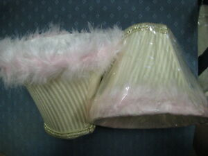 2 Fabric Lamp Shades PINK Fur/Fluffy Trim-Light Cream Color 5'' tall x 6'' wide