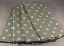 PACK OF 4 VINTAGE SAGE GREEN WITH CREAM POLKA DOT / SPOTTED COTTON NAPKINS