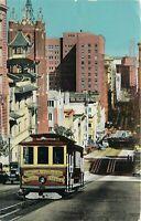Chrome Postcard CA E197 Cable Car on California Street near Chinatown 1953
