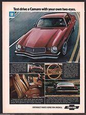 1974 CHEVROLET CAMARO Type LT Classic Muscle Car AD w/ interior photos