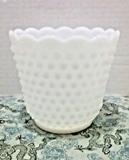 Vintage Fire King Oven Ware White Milk Glass Hobnail Scallop Edge Tall Bowl Vase