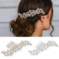 Wedding Rhinestone Hair Pins Clip Bridal Diamante Crystal Slide Comb Rose gold
