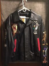 Vintage Warner Brothers Leather Bomber Jacket Bugs Bunny Looney Tunes Size Large