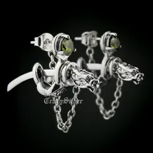 Olive Green CZ 925 Sterling Silver Dragon Japanese katana Stud Earring 8M409A