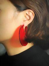 orecchini A perno Grandi Tondo Acrilico Rosso Perla Leggero Semplice M3
