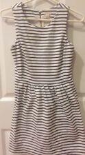 J.Crew Daybreak Dress Black and White Stripe XS Petite Pockets