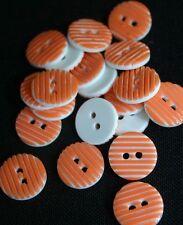 20 Orange & White* Stripe Resin Button -13mm- Sewing,Craft,Scrapbooking,Quilting