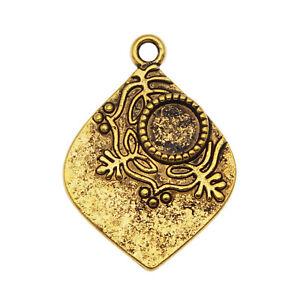 10pcs Retro Gold 27x20mm Floral Tag Charms Bezel Setting Pendant Jewelry Making