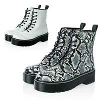 Hailys Damen Schnürstiefeletten mit Plateausohle Combat Boots Stiefel Casual - %