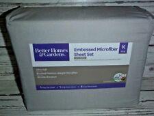 BH&G King Embossed Microfiber Sheet Set Grey Pumice