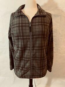 Womens Columbia Brown Plaid Fleece Zipper Front Jacket Size XL