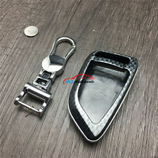 Carbon Fiber Look Smart Key Fob Case Shell Chain For BMW X5 F15 2014 2015 2016