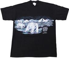 NEW VTG 90s ALASKA Polar Bears T-SHIRT Black XL Made In USA Deadstock AK Travel