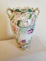 Antique IE&C co Nippon Hand Painted Gold Moriage Porcelain Vase~ Japan