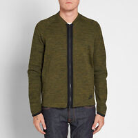 Nike Tech Knit Bomber Jacket Men's Dark Loden Olive Black Sportswear Activewear