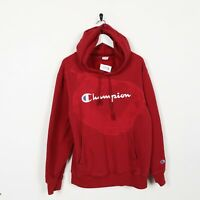 Vintage CHAMPION Spell Out Logo Hoodie Sweatshirt Red   Large L   Grade B   DYED
