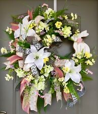 Spring Bunny Wreath, Spring Door Decor, Spring Floral Wreath, Easter Lily Wreath