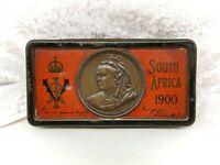 Antique Cadburys Tin-Queen Victoria South Africa 1900-Boer War-WITH CHOCOLATE