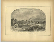 1883 Wood Engraving Government Buildings Ward's Island