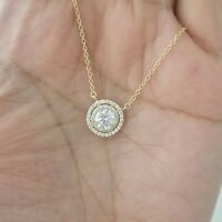 Women 14k Yellow Gold  Finish Round Diamond Solitaire Pendant Necklace