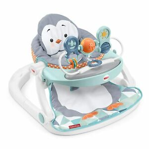 Fisher Price Sit Me Up Floor Seat with Tray Penguin Themed Portable Infant Chair