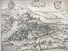 Belgium Namur c 1581 - 1600 Namurcum Meuse Sambre by Guicciardini, antique map