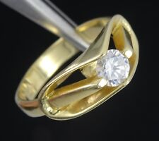 SIGNED SOLID 14K GOLD COCKTAIL RING w/ CENTER CZ * SIZE 7  / 3.9 g