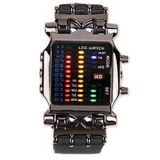 LED Digital Binary Date Time Men's Black Stainless Steel Sport Wrist Watch Gift